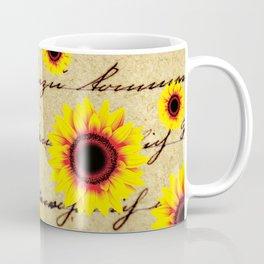Sunflower Pattern on antique vintage script handwriting background Coffee Mug