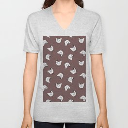 the happy french hen in lilac greige Unisex V-Neck