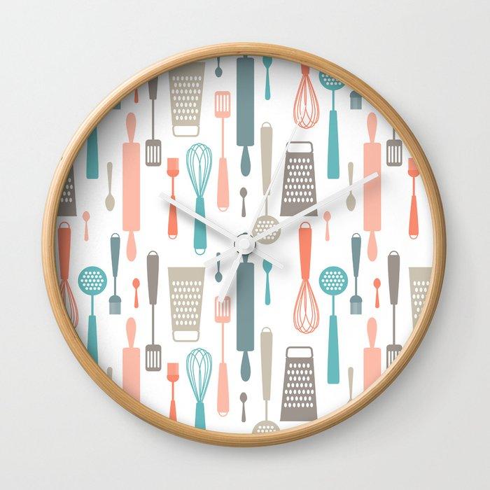 Kitchen Utensils Wall Clock By Heleenvanbuul Society6