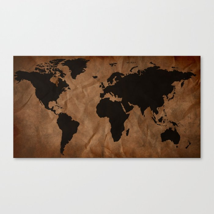 Old wrinkled world map canvas print by nicklasgustafsson society6 old wrinkled world map canvas print gumiabroncs Image collections