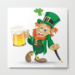 St Patrick leprechaun with cup of beer and cane Metal Print