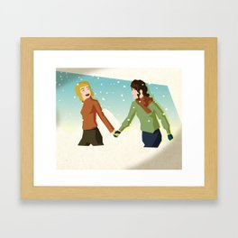 Excited In The Snow Framed Art Print