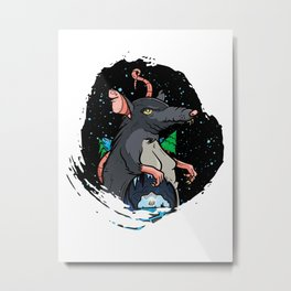 Rat in Space Metal Print