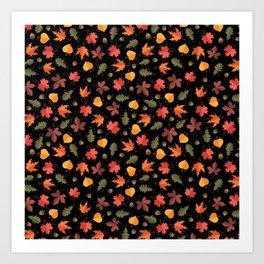 Autumn Leaves Pattern Black Background Art Print