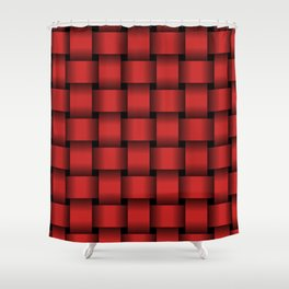 Large Firebrick Red Weave Shower Curtain