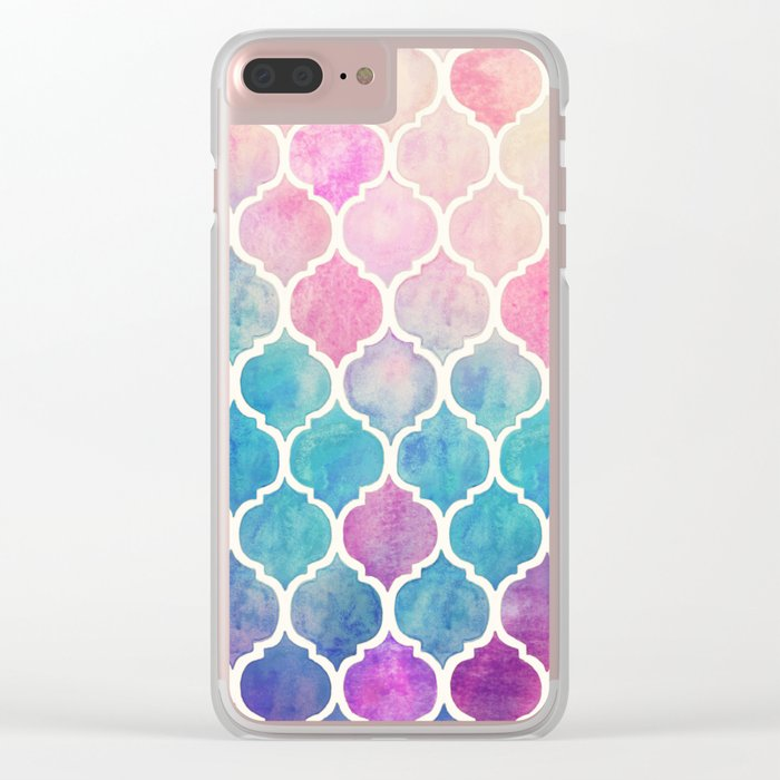 Rainbow Pastel Watercolor Moroccan Pattern Clear iPhone Case