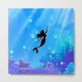 Beauty Mermaid Blue Sea Metal Print