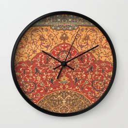 Flowery Vines III // 16th Century Contemporary Red Blue Yellow Colorful Ornate Accent Rug Pattern Wall Clock