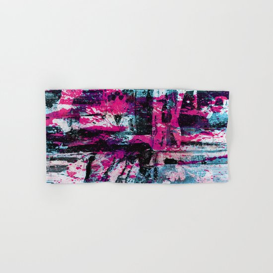 Express Yourself II - Abstract pink and blue artwork Hand & Bath Towel