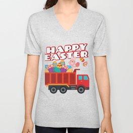Easter Bunny Delivering Truck Easter Eggs For Boys Unisex V-Neck