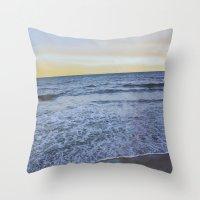 rileigh smirl Throw Pillows featuring Ocean Sunset by Rileigh Smirl