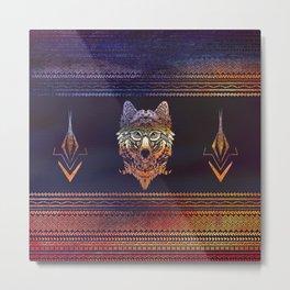 Tribal Wolf Paint Translucent Metal Print