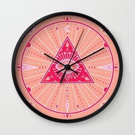 Evil Eye Mandala – Pink Wall Clock