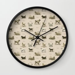 TERRIERS Dog pattern on the beige background Wall Clock