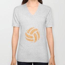 Orange Volleyball Wordcloud - Gift Unisex V-Neck