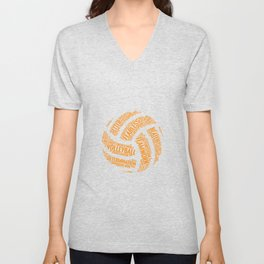 Orange Volleyball Wordcloud - Gift Unisex V-Neck