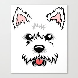 Cute Adorable Westie Dog Face for Westie Owners Canvas Print