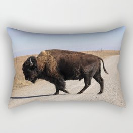 An Oklahoma Landscape of Bison Crossing a Road Rectangular Pillow