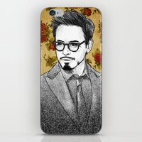 robert downey jr iPhone & iPod Skins featuring ROBERT DOWNEY JR by FISHNONES