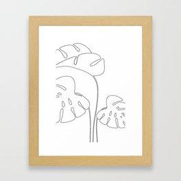 Monstera plant leafs line art Art black and white Framed Art Print
