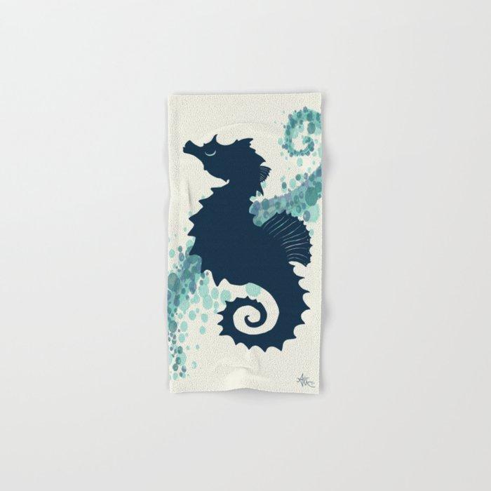 """Seahorse Silhouette"" ` digital illustration by Amber Marine, (Copyright 2015) Hand & Bath Towel"