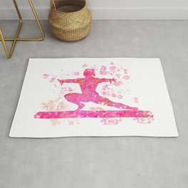 Gymnast on Beam Silhouette Abstract Watercolor Design in Pinks Rug