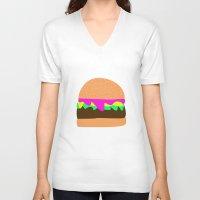 burger V-neck T-shirts featuring Burger by Sara Hepe