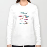 sharks Long Sleeve T-shirts featuring Sharks by Simon Alenius