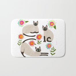 Siamese Cats and flowers Bath Mat