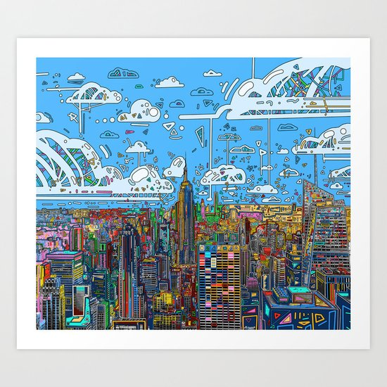 new york city skyline colorful by bekimart