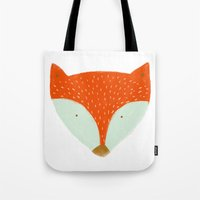 mr fox Tote Bags featuring mr fox by Sweet Reverie