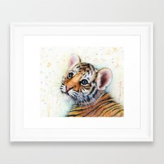 Tiger Cub Watercolor Cute Baby Animals Framed Art Print