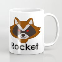 rocket raccoon Mugs featuring Rocket by Pop Culture Fanatics