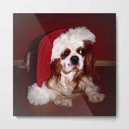 Santa Cavalier Spaniel Puppy Metal Print