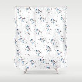Christmas Snowman Couple with Bird friend Shower Curtain
