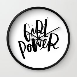 Brush Lettered Girl Power Wall Clock