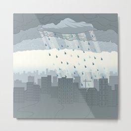 Rain in the city Metal Print