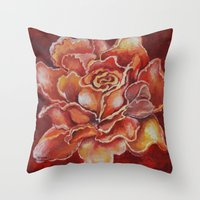 agnes cecile Throw Pillows featuring Agnes Red Rose by notredame777