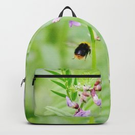 Flying bumble-bee and vetch Backpack