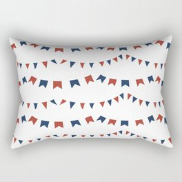 Summer Fun Flag Illustration in Red, White, and Blue Rectangular Pillow