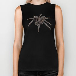 Black spider species tegenaria sp Biker Tank