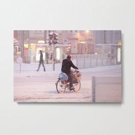 Snow Biker Metal Print