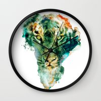 african Wall Clocks featuring African Wildlife by RIZA PEKER