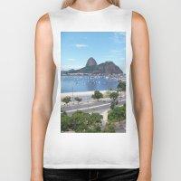 rio de janeiro Biker Tanks featuring Rio de Janeiro Landscape by Fernando Macedo