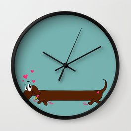 Dachshund with hearts Wall Clock