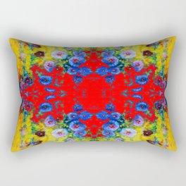 WESTERN YELLOW & RED GARDEN GOLD BLUE FLOWERS Rectangular Pillow