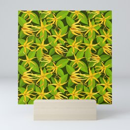 Ylang Ylang Exotic Scented Flowers and Leaves Pattern Mini Art Print