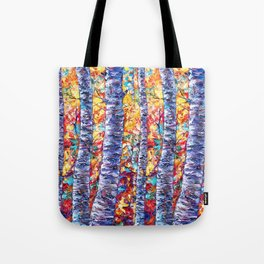 Autumn Aspen Trees Contemporary Painting with a Palette Knife Tote Bag