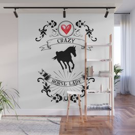 Crazy Horse Lady Riding Equestrian Girlie Rider Wall Mural