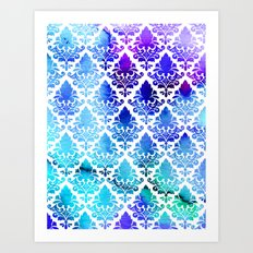 Damask in Cool Purple Art Print